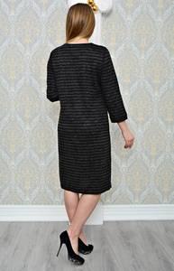 Платье длинное зимнее черное Р1302
