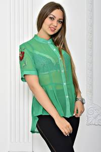 Рубашка с принтом прозрачная с коротким рукавом Т2298