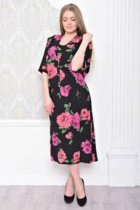 Платье длинное с принтом черное С0926