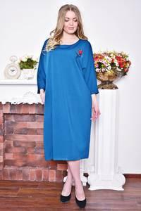 Платье длинное зимнее синее Р8373