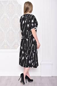 Платье длинное с принтом черное С0928