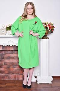 Платье длинное зимнее зеленое Р8376