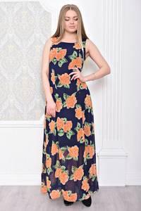 Платье длинное летнее без рукавов С0932