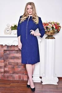 Платье длинное зимнее синее Р8380