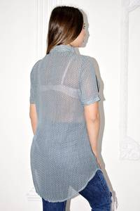 Рубашка прозрачная в полоску с коротким рукавом С0124