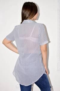 Рубашка прозрачная в полоску с коротким рукавом С0125
