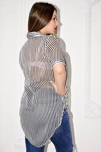 Рубашка прозрачная в полоску с коротким рукавом С0127