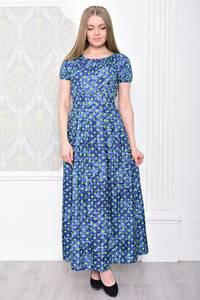 Платье длинное синее в горошек С0939