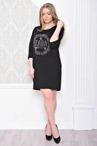 Платье короткое черное с принтом С0940