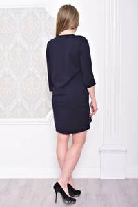 Платье короткое синее с принтом С0941