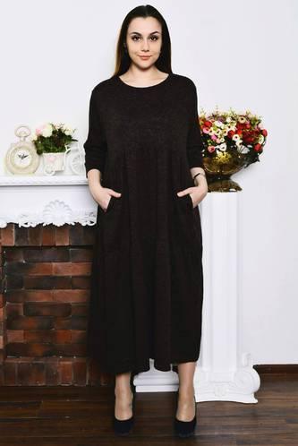 cef62b407e8 Платье длинное черное зимнее Р4208 купить оптом в интернет-магазине ...