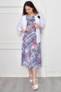 Платье Двойка короткое нарядное с принтом Ф9643