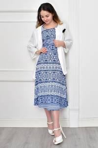 Платье Двойка короткое нарядное с принтом Ф9644