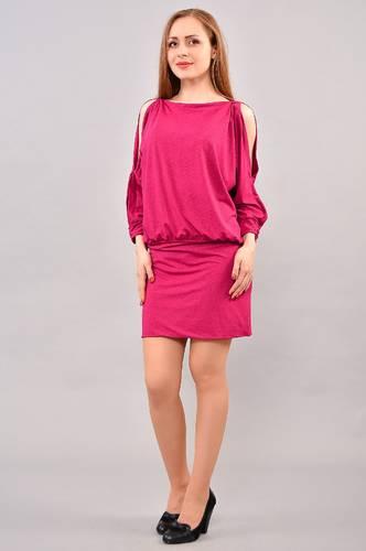 Платье короткое с длинным рукавом красное И3232