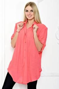 Рубашка удлиненная красная С1262