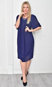 Платье короткое нарядное синее Ф4845
