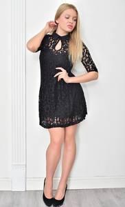 Платье короткое коктейльное черное Ф4855