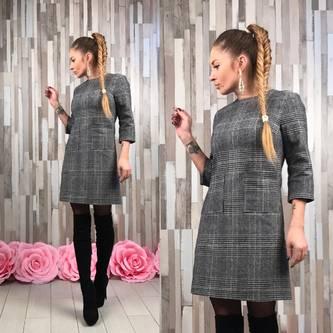 Платье короткое повседневное однотонное П9896