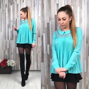 Блуза голубая с длинным рукавом Р2869