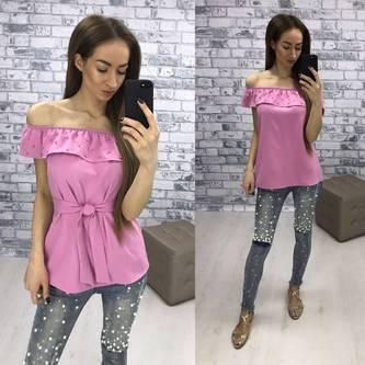 Блуза розовая летняя с коротким рукавом Р2257