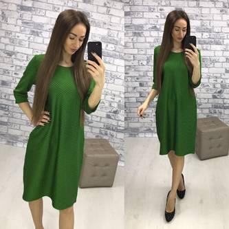 Платье короткое деловое зеленое Р3723