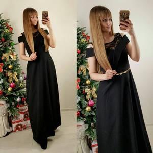 Платье длинное черное классическое П7584
