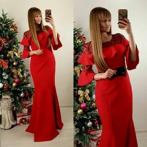 Платье длинное красное классическое П7586