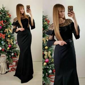 Платье длинное черное классическое П7587