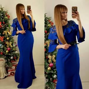 Платье длинное синее классическое П7588