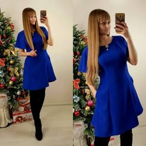 Платье короткое повседневное синее П7571