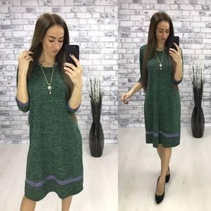 Платье длинное офисное зеленое П8865