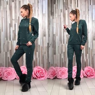 Костюм зеленый теплый модный П9433