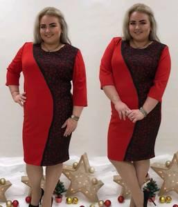 Платье короткое с принтом красное П9448
