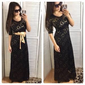 Платье длинное черное классическое Р0611