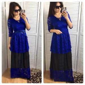 Платье длинное синее вечернее Р0613