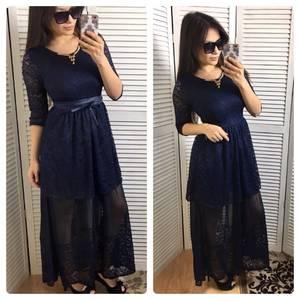 Платье длинное синее вечернее Р0615