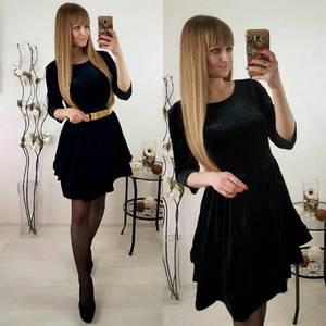 Платье короткое коктейльное черное П3016