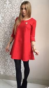 Платье короткое коктейльное красное П3455