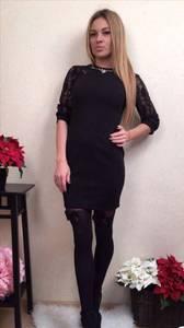 Платье короткое вечернее черное П3465