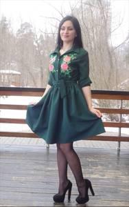 Платье короткое классическое с принтом П3475