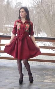 Платье короткое классическое с принтом П3476