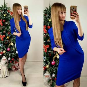 Платье короткое облегающее синее П4985