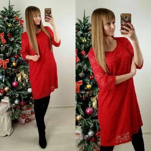 Платье короткое красное деловое П4997