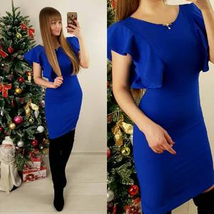 Платье короткое облегающее синее П5550