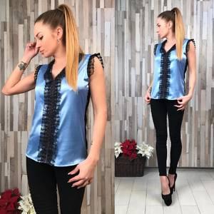 Блуза синяя с кружевом без рукавов С7459