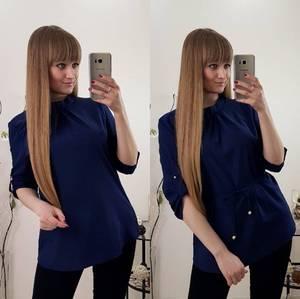 Блуза летняя синяя С8042
