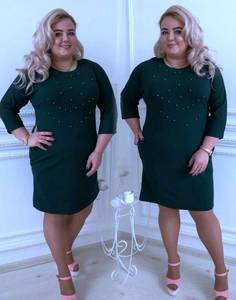 Платье короткое повседневное зеленое С8655