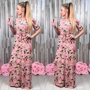 Платье длинное розовое с открытыми плечами С8813