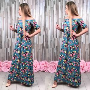 Платье длинное голубое с открытыми плечами С8814