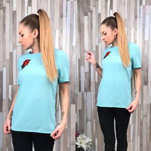 Блуза голубая с коротким рукавом С8754